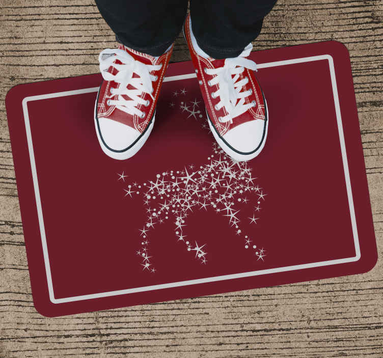 TenStickers. Red sparkly reindeer Christmas rug. This fabulous festive Christmas rug design features a reindeer made from white sparkly stars on a red background. +10,000 satisfied customers.