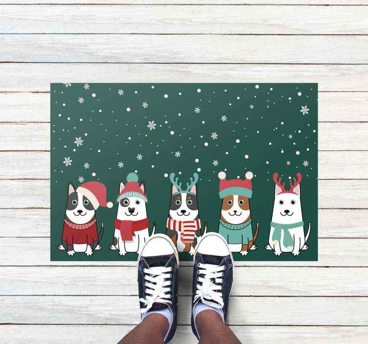 TenStickers. Christmas dogs christmas wall sticker. Amazing beautiful christmas dogs doormat. Beautiful piece of element to put a step to the door and every entrance looks amazing.