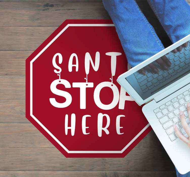 TenStickers. Santa stop here christmas wall sticker. Amazing sansta stop here vinyl carpet/rug. Beautiful piece of element to put a step to the door and every room looks amazing..
