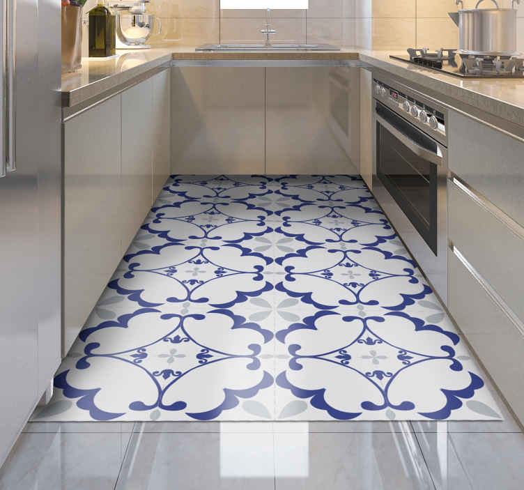 TenStickers. Mosaic light grey vinyl carpet. An elegant and beautiful mosaic design vinyl rug in blue grey and white to decorate your kitchen floor and protect your floor.