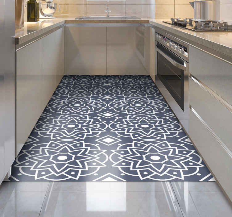TenStickers. deep blue colour with ethnic patterns mosaic vinyl flooring. The perfect mosaic vinyl flooring for your kitchen! Made to order so you can choose the size that is best for you and your home.