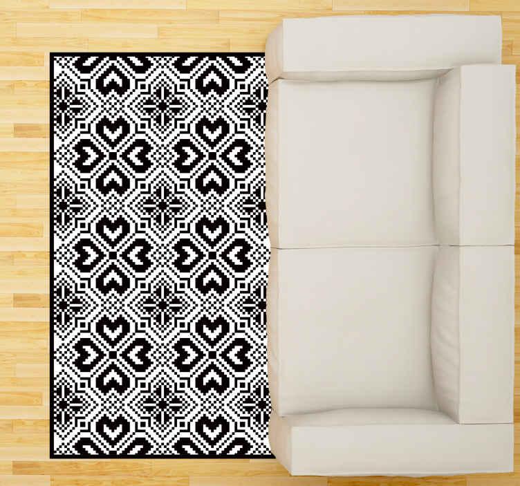 TenStickers. Tapetes contemporâneos em preto e branco sem costura eslavos. Um incrível tapete de vinil eslavo que vai ficar lindo em sua casa. Inscreva-se no nosso site hoje para obter 10% de desconto no seu primeiro pedido.