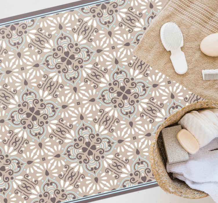 TenStickers. Dywan winylowy Elegancki drobny wzór kwiatowy. Idealny dywan winylowy z mozaiką do każdego pomieszczenia w domu! Bez pozostałości po usunięciu i doskonały wygląd za każdym razem.