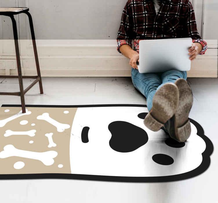TenStickers. Vinylteppich Tier Hundepfotenabdruck und knochen. Ein perfekter Vinyl Teppich mit knochen und hundepfoten für hundeliebhaber, um Ihre hausböden zu dekorieren. Ein hochwertiges Produkt, waschbar und widerstandsfähig!