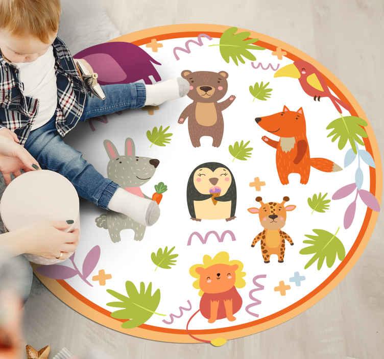 TenStickers. Tappeto in vinile bambini Simpatici animali del giardino zoologic. Questo tappeto in vinile con animali decorerà la stanza del tuo bambino e renderà felice il tuo bambino. è di alta qualità quindi aggiungilo al tuo carrello!