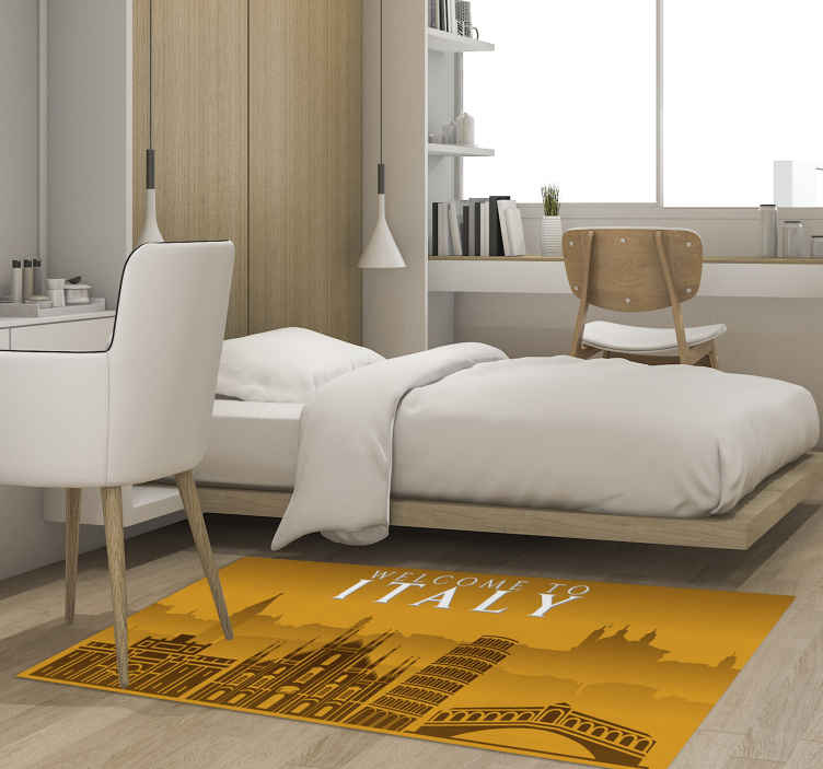 TenStickers. Vinylteppich Flur Skyline italien. Geeigneter Vinyl Teppich für die eingangshalle für büro- und wohnräume. Das Design kann auf loungebereichen und anderen räumen ihrer wahl platziert werden.