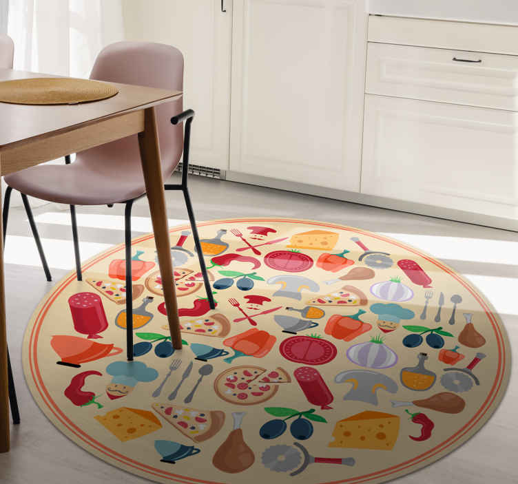 TenStickers. icons of italian food teenage rugs for bedrooms. Amazing iconic food vinyl rug for food lovers. A  round-tip dinning room vinyl carpet hosting various iconic food features in a realistic appearance.