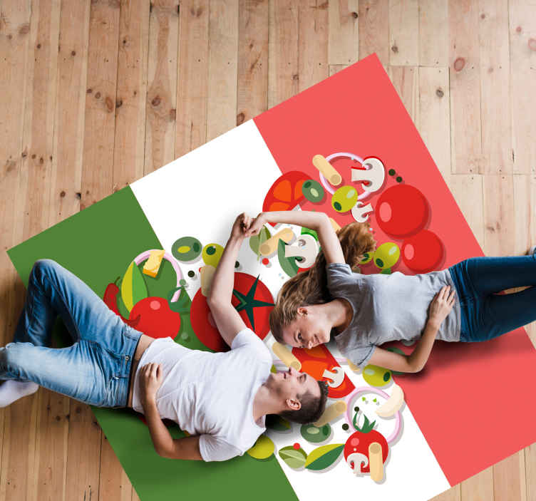 TenStickers. Italy Food Flag vinyl map rug. Lovely entrance vinyl carpet that would fit well for a restaurant space. The shape is made in square shape with it background in Italian flag.