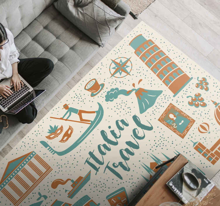 TenStickers. italian icons  carpet runners for halls. Amazing rectangular vinyl carpet that you can place on a hallway. The design is also suitable for living room, bedroom and other floor space.
