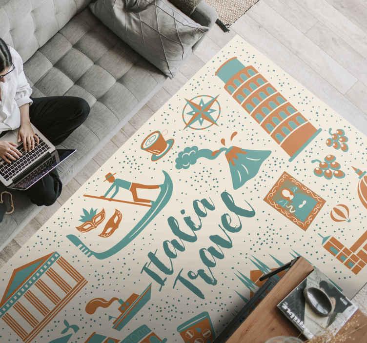 TenStickers. Italiaanse pictogrammen tapijtlopers voor zalen. Geweldig Italiaanse objecten rechthoekig vinyl tapijt dat u op een gang kunt plaatsen. Het ontwerp is ook geschikt voor woonkamer, slaapkamer en ander vloeroppervlak.