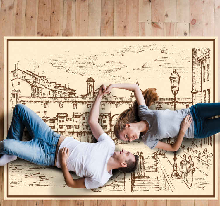 TenStickers. florence in italy living room carpet. Decorative rectangular vinyl rug design featured with a drawing sketch  structure depicting Florence, Italy. It is original, durable and easy to clean.