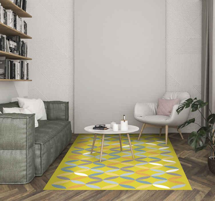TenStickers. Dywan winylowy żółty w stylu skandynawskim. Piękny skandynawski żółty dywan winylowy, idealny jako dekoracja Twojego salonu. Jest wykonana z wysokiej jakości winylu, łatwego do przechowywania i czyszczenia. Sprawdź to!