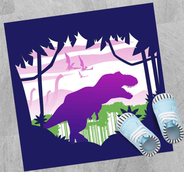 TenStickers. Covor de vinil pentru copii dinozaur violet. Acest covor dinozaur prezintă o siluetă a unui dinozaur purpuriu care merge printr-o junglă. Reduceri disponibile. Materiale de înaltă calitate.