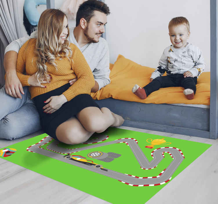 TenStickers. Racing car track mat. This fantastic design features a racing car track surrounded by green fields and with a trophy. Anti-bubble vinyl. Custom made.