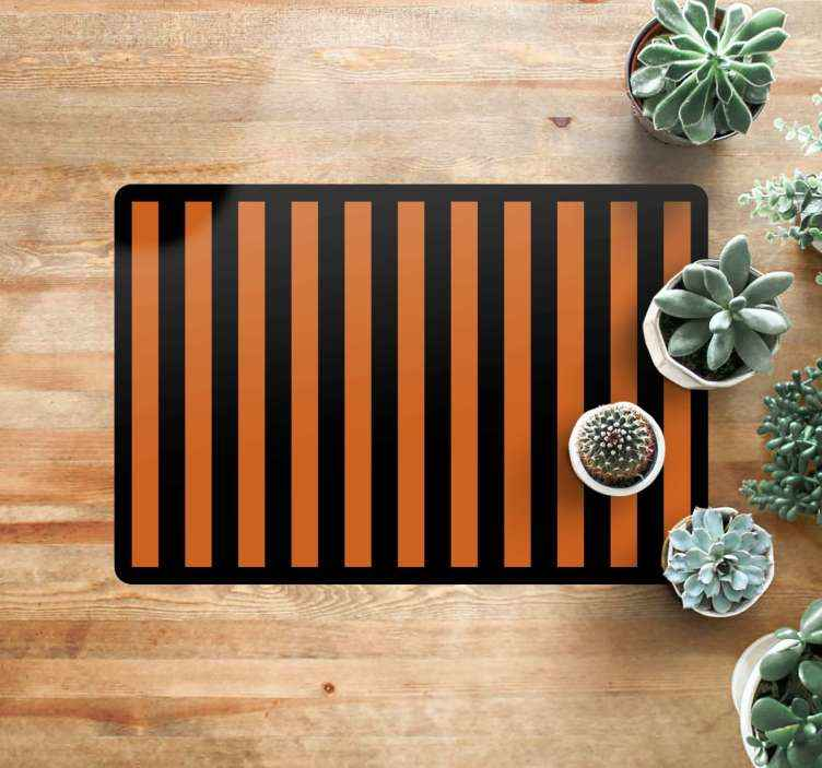 TenStickers. Orange and Black Striped halloween mats. This Halloween vinyl rug features orange and black stripes surrounded by a black border. Sign up for 10% off. High quality.