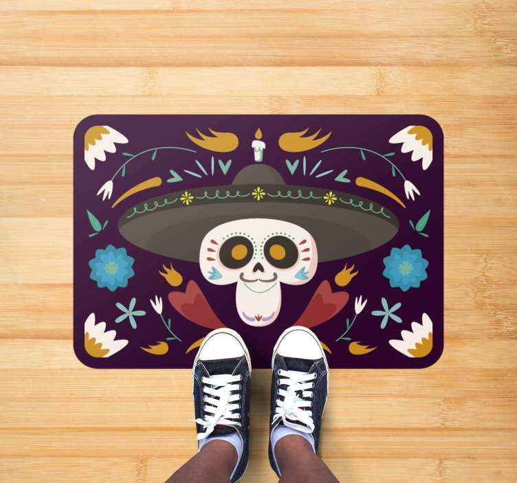 TenStickers. Mexican style halloween mats. A Mexican themed rug that will look perfect in your home for this years celebrations! Day of the dead has never looked so good.