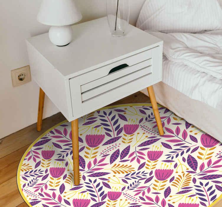TenStickers. Covor strălucitor cu flori colorate. Covorul floral din vinil perfect pentru casa ta! Alegeți dimensiunea potrivită pentru dvs. , deoarece acestea sunt făcute la comandă. Material extrem de durabil.