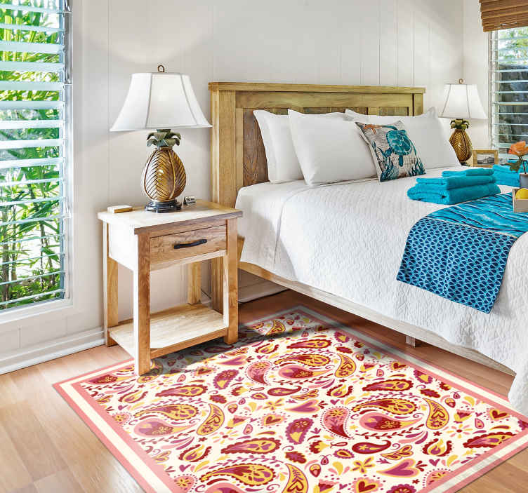 TenStickers. 酷花形状花地毯. 一款精美的花卉主题地毯,将为您的房间增添更多特色!易于应用,外观漂亮。