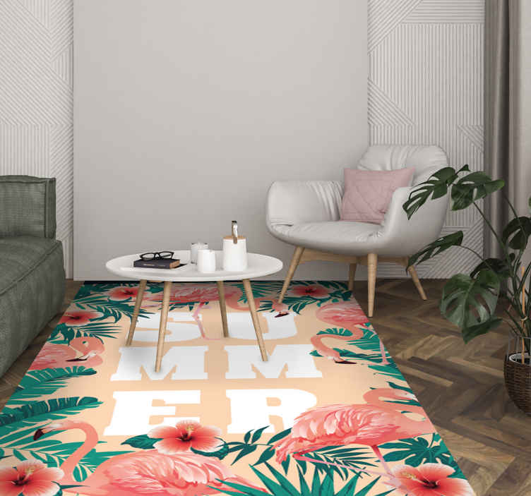 TenStickers. Summer text flamingos flowers bespoke rugs. Buy our great floral vinyl runner rug that is not only decorative on your floor but also illustrative. It is highly durable and anti-allergic.