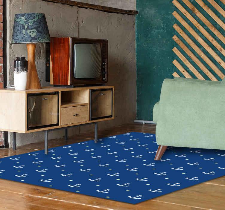 TENSTICKERS. 現代のビニールラグを固定します. 居間のための美しい青いビニールの敷物。デザインには、航海要素を描いたさまざまなアンカーが含まれています。メンテナンスが簡単で耐久性があります。