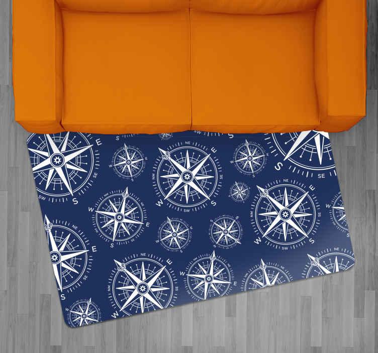 TenVinilo. Alfombra vinilo vintage patrón brújulas. Alfombra vinilo vintage adecuada para su dormitorio o incluso para su sala de estar. Es muy resistente, duradero y estético ¡Envío exprés!