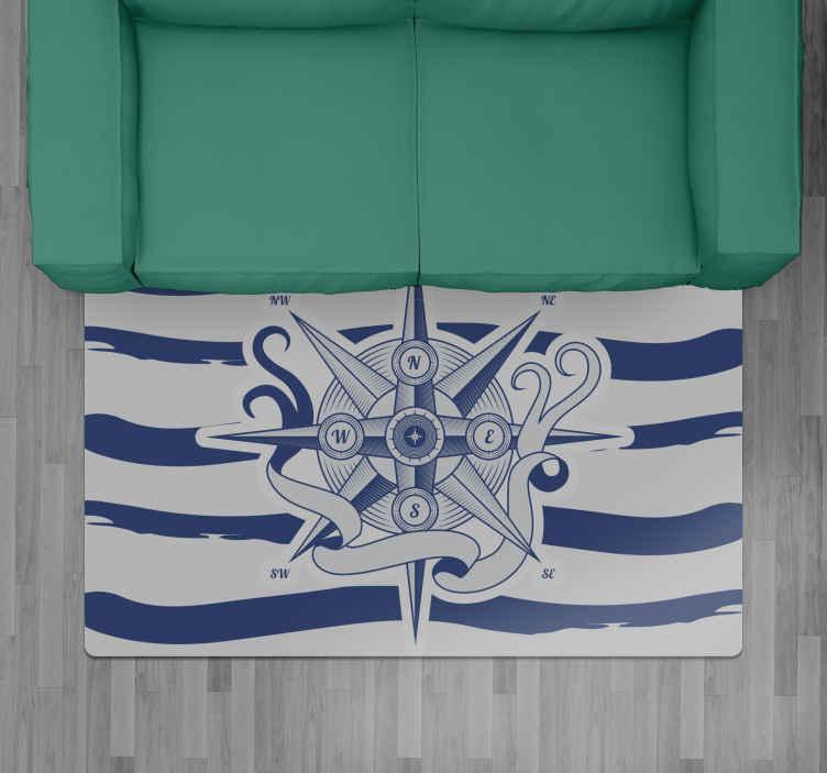 TenVinilo. Alfombra vinilo rayas brújula marina. Decora tu sala de estar o incluso tu dormitorio con esta hermosa alfombra vinilo rayas blancas y azules con brújula ¡Envío exprés a domicilio!