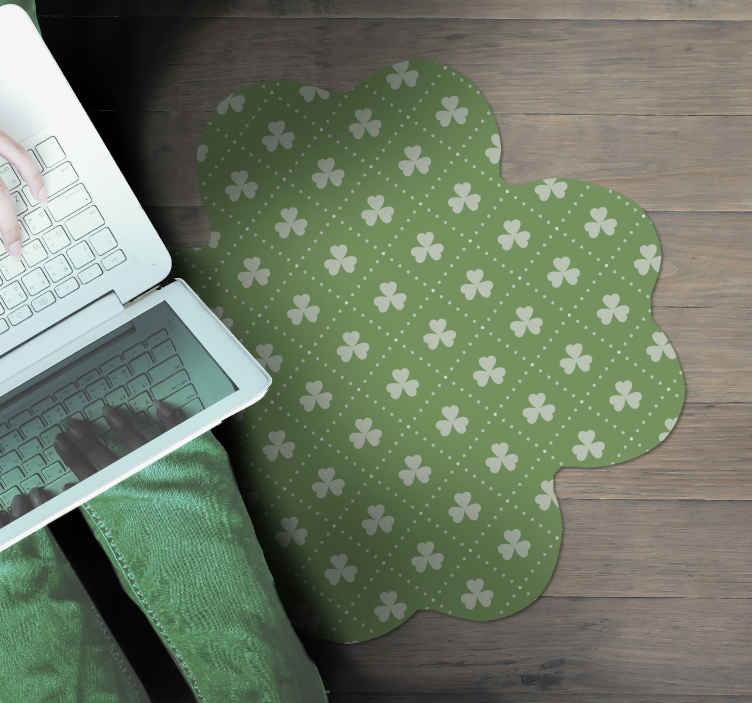TenStickers. Green and white shamrock pattern flower rug. Take a careful look at this gorgeous floral vinyl runner rug.  we ensure you to receive a really resistant and durable product.