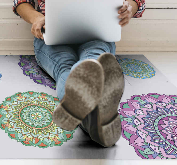 TenStickers. Mandala Circles mandala mat. Full of colors mandala design vinyl rug to add an unique style to the rooms in your house. It can last very long and can be washable!