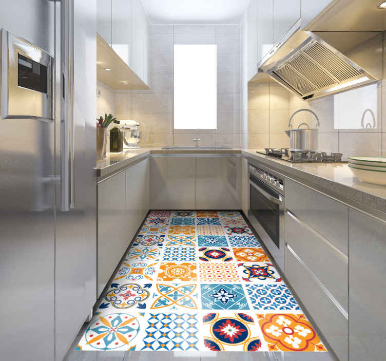 TenStickers. hand painted Portuguese tiles tile mat. Make you kitchen brighter with the addition of a colourful tiled rug! With discounts available, now is the best time to buy.