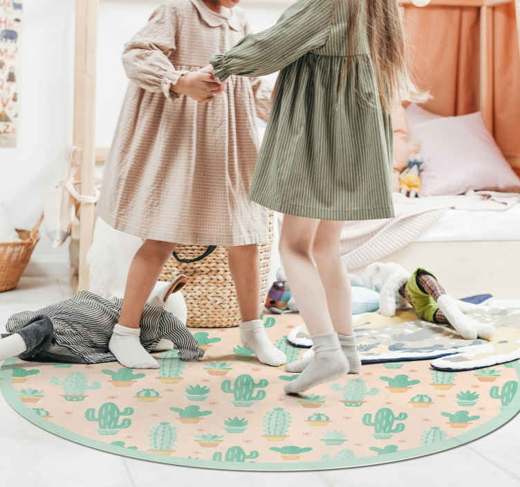TenStickers. kids cactus flower rug. This nature vinyl rug for kids is both cute and quirky, making a great addition to any room. Easy to maintain and apply.