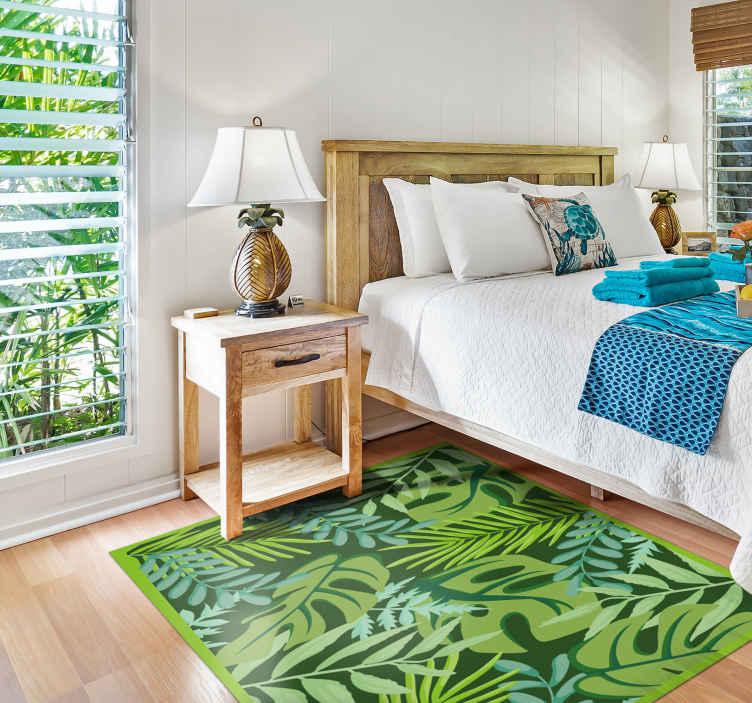 """""""Tenstickers"""". Džiunglių lapai gėlių kilimas. Jauskitės su gamta, kai įsigyjate šį džiunglių lapų vinilinį kilimą! Su +10 000 patenkintų klientų esate saugiose rankose."""