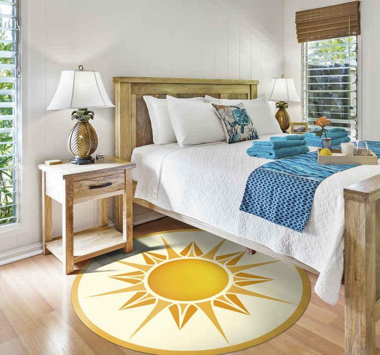 TenVinilo. Alfombra vinilo mandala patrón amarillo. Agregue esta increíble alfombra vinílica redonda natural a su hogar para dar un toque alegre a tus estancias ¡Descuentos disponibles!