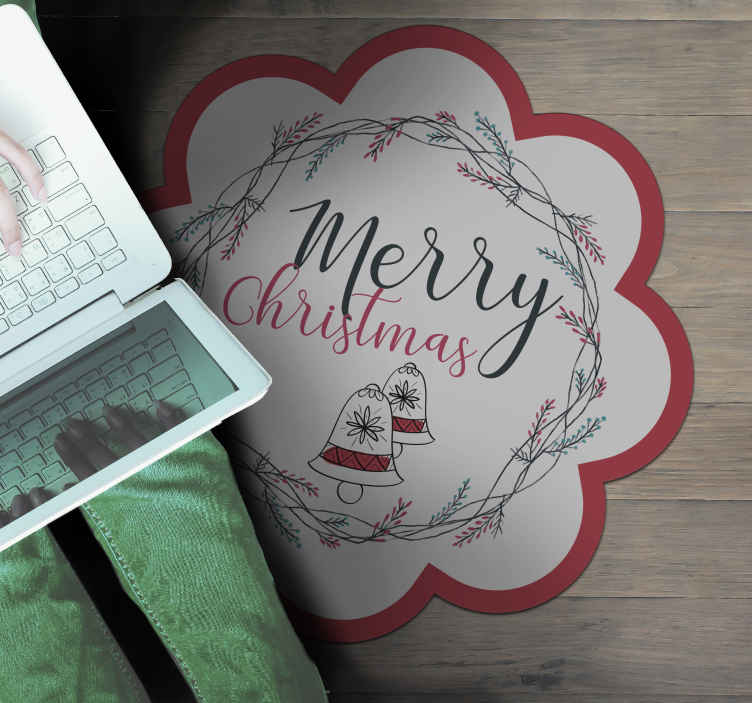 TenStickers. Christmas bells Christmas rug. Beautiful merry christmas rug, perfect to decorate your living room during christmas time. It will also look beautiful in other spaces