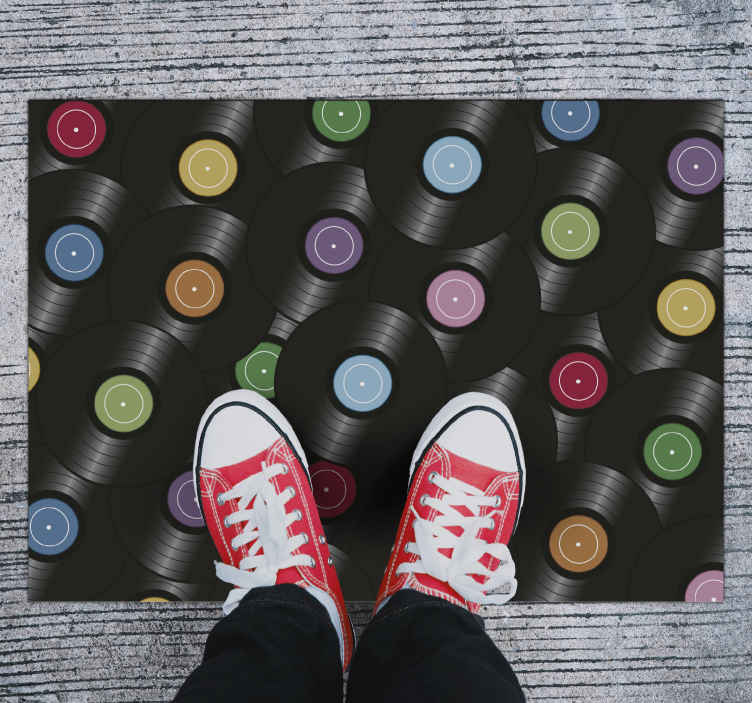 TenStickers. vinyl rug with vinyl records retro rug. The most stunning vintage vinyl flooring that will look amazing in any room of your home. Discounts available online today.