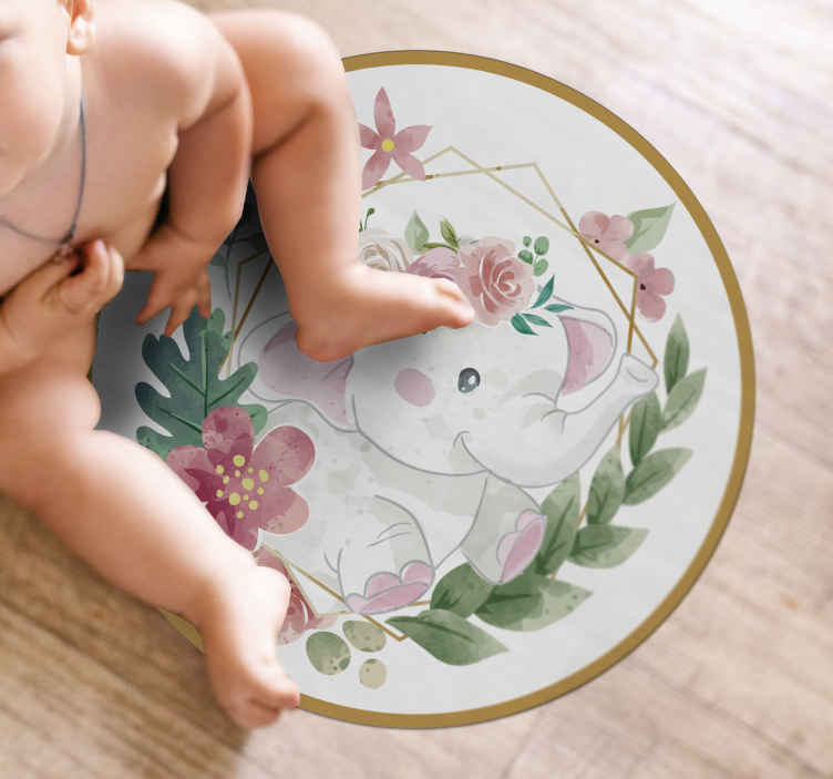 TenStickers. vinyl rug elephant in the jungle animal mat. Wonderful elephant vinyl rug that will bring your little one's room to life! Sign up for 10% off and make your first order today.