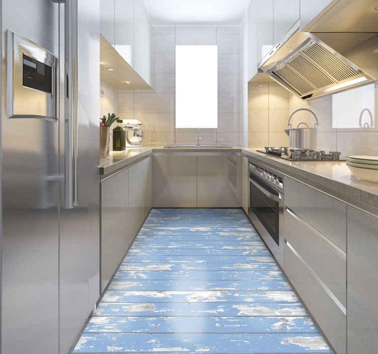 TenStickers. Piso de vinil com textura de madeira azul e efeito de madeira. Tapete vinil de madeira azul, ideal se deseja decorar sua cozinha com um toque elegante. Em vinil de qualidade, fácil de limpar e guardar.