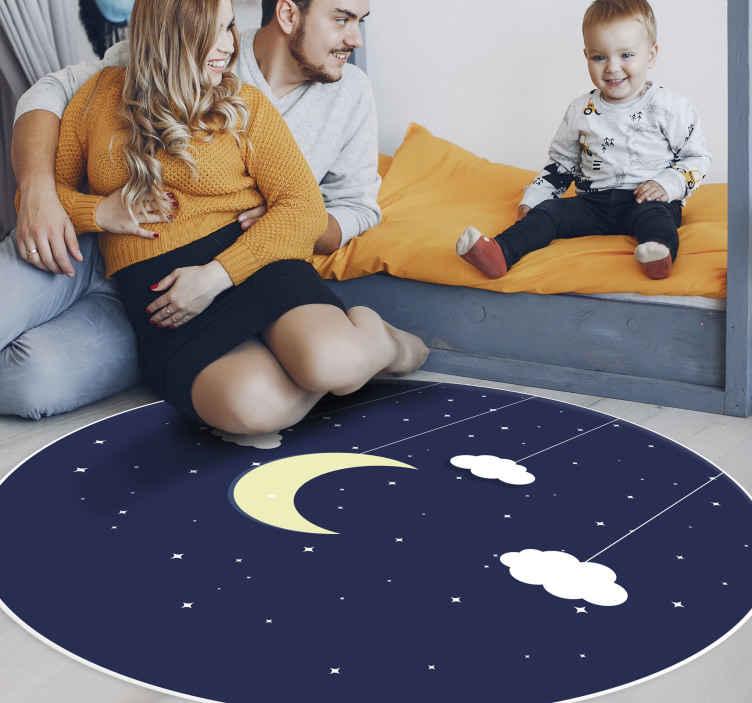 TenStickers. Dywan winylowy Gwieździsta noc. Piękny dywan z winylu, który udekoruje pokój Twojego dziecka i sprawi, że spojrzy z niego w niebo. Dostawa pod Twój dom!