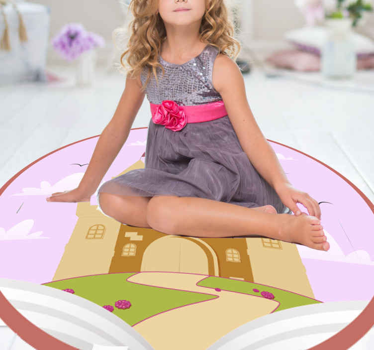 TenStickers. tale castle kids vinyl carpet. Castle vinyl rug, perfect for decorating your kid's room. Made of high quality durable vinyl, easy to store and clean. Check it out!