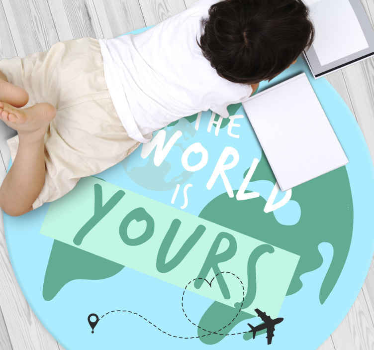 TenStickers. the planet is yours bespoke rugs. An amazing the world is yours text world map vinyl rug to decorate any space in your house for those travellers lovers. Resistant product!