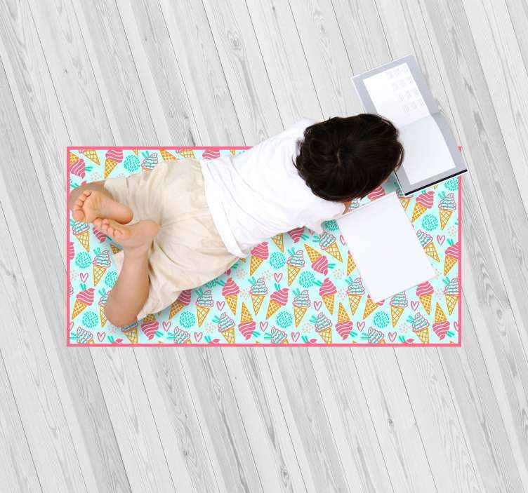 TenStickers. Ice Cream baby mat. This enchanting ice cream vinyl rug is exactly what you need to make a fantastic gift to your kid! It is made from high quality material.