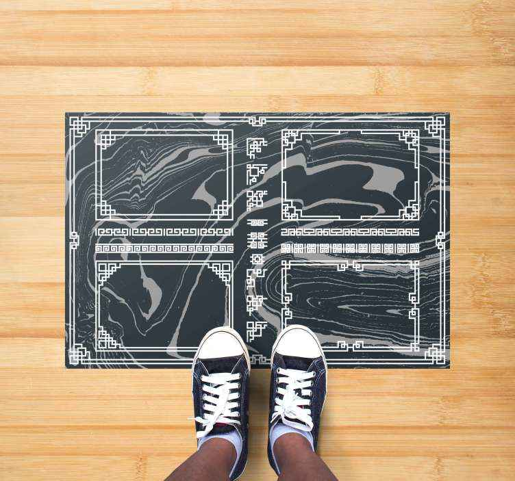 TenStickers. Tappeto in vinile con forme geometriche Marmo squadrato. Un magnifico tappeto quadrato in marmo con motivo geometrico. Prodotto di prima qualità, lavabile e molto resistente. Aggiungilo al tuo carrello ora.
