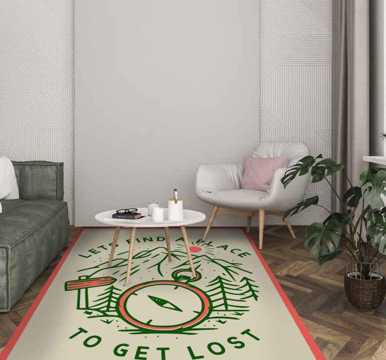 TenStickers. tapis vinyl mappemonde Allons nous perdre. Ce fabuleux tapis en sticker comporte le texte «trouvons un endroit pour se perdre» entourant une boussole et une forêt. sticker anti-bulles.