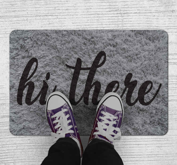 TenStickers. Hi there entrance hall rug. A wonderful hi there vinyl rug to make all your visitors feel welcome by the moment they step in the front of your house.