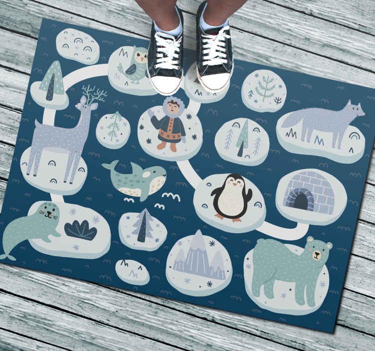 TenStickers. Tappeto in pvc nordico Strada degli animali polari. Questo tappeto in vinile con animali presenta molti iceberg diversi con diversi oggetti polari su di essi come pinguini, igloo, foche e alberi.