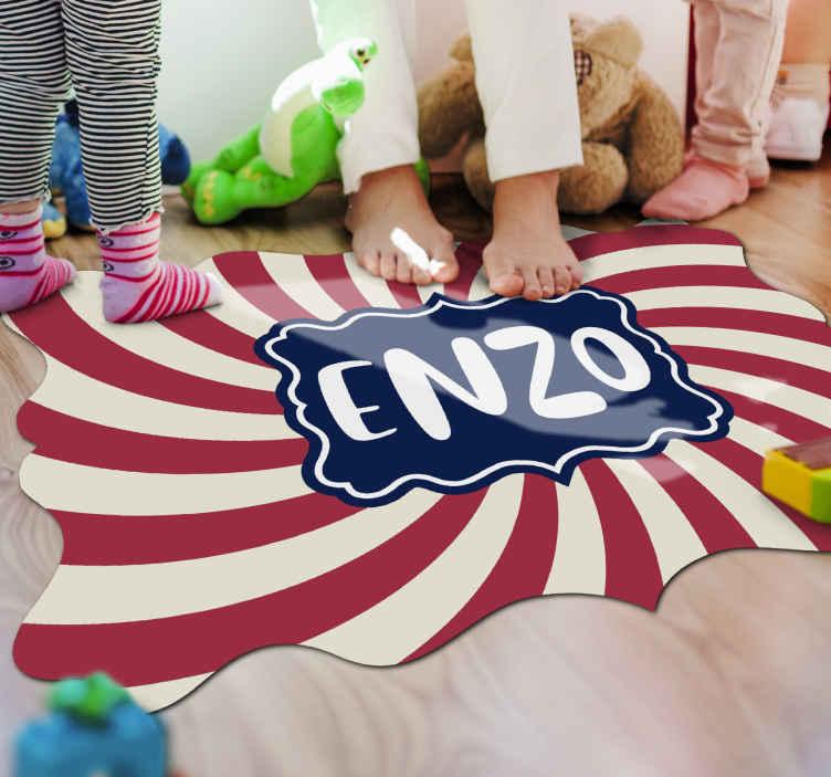 TenStickers. tapis vinyl personnalise Cirque avec nom. Un incroyable tapis sticker personnalisé sur le thème du cirque parfait pour la chambre de vos enfants, ils adoreront leur nature unique!