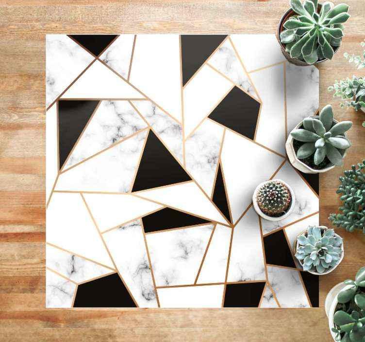 TenStickers. Covoare contemporane elegante cu textură alb-negru. Un covor elegant din vinil alb-negru cu o textură de marmură. Opțiunea perfectă pentru a da casei tale o notă elegantă. Livrare la nivel mondial!