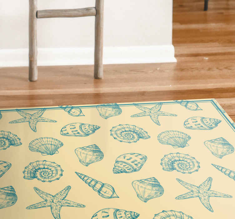TenStickers. Hand draw seashells and starfish animal mat. A simple but beautiful seashell and starfish pattern vinyl rug with a beach touch to decorate any space in your house. High quality product!