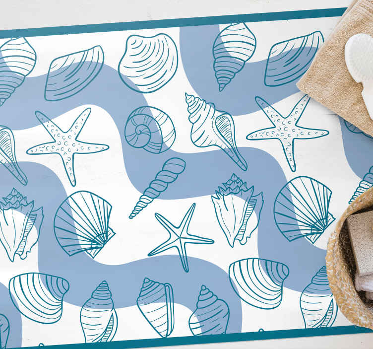 TenStickers. Seashells patterns animal mat. this beautiful and unique rectangular jute rug is a seashell pattern designed to beautify your bathroom.  The material is resistant and long lasting.