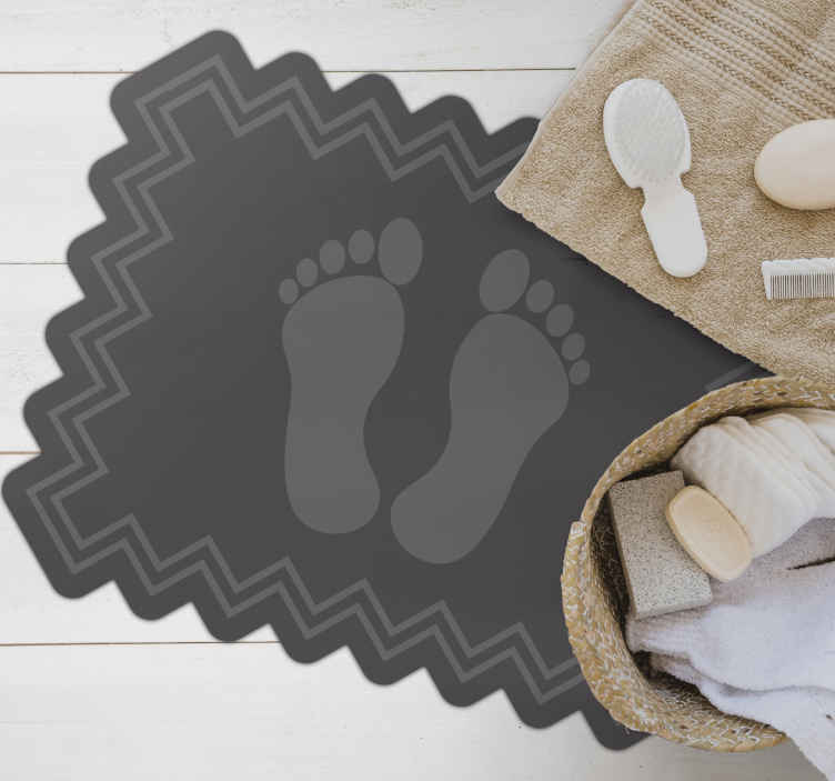 TenStickers. vinyl rug bathroom footprints and zig zag contemporary rugs. ncreaduble colorful design in sticker with a sticker of footprint. A nice design for any space and it is really easy to maintain. Home delivery!