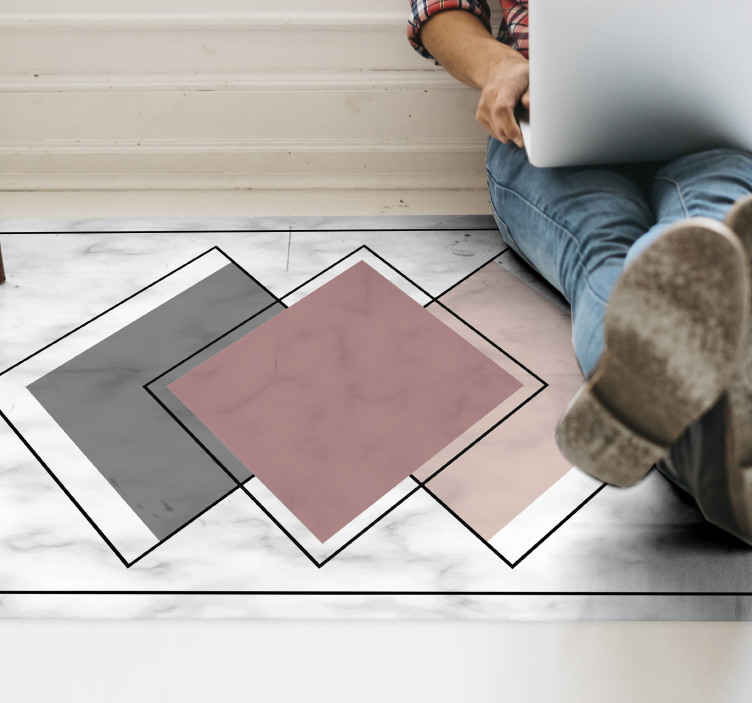 TenStickers. three rhombuses contemporary rugs. Subtle yet stylish. Get your very own geometric vinyl rug today for an amazing new modern look! Select the perfect size for your rooms.